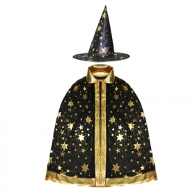 COAT with HAT, HALLOWEEN baby girl - Black with Stars