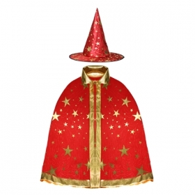 COAT with HAT, HALLOWEEN baby girl - Red with Stars