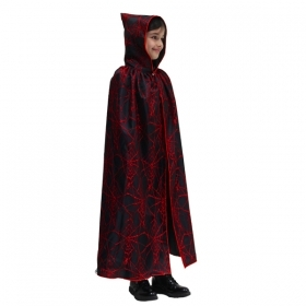 CLOAK with HOOD HALLOWEEN baby girl - spider Web Red