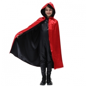 CLOAK with HOOD HALLOWEEN baby girl - Red and Black