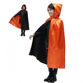 CLOAK with HOOD HALLOWEEN baby girl - Black and Orange