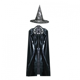 COAT with Hat HALLOWEEN - Adult - black/silver