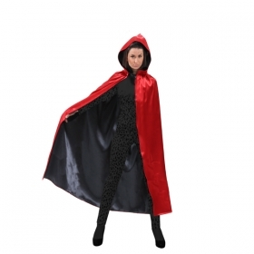 CLOAK with Hood - Reversible HALLOWEEN - Adult - red/black