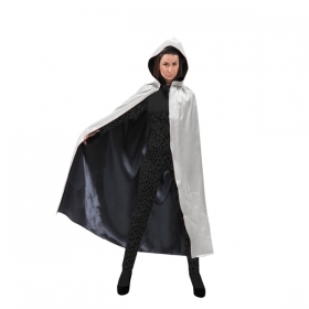 CLOAK with Hood - Reversible HALLOWEEN - Adult - silver/black