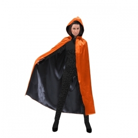 CLOAK with Hood - Reversible HALLOWEEN - Adult - orange/black