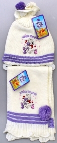 HAT with pompom and SCARF DISNEY WINNIE THE POOH Color Cream
