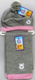 HAT BERET and SCARF DISNEY WINNIE THE POOH Gray Color