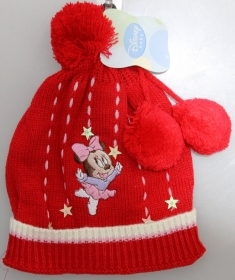 DISNEY HAT With POM poms MINNIE mouse BABY Red Color