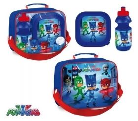 Set Lunch at PJ MASKS THERMAL BAG with water BOTTLE and BOWL SUPER PAJAMAS