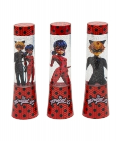 MINI LAMP LIGHT with GLITTER and Changes colors, MIRACULOUS LADYBUG and CAT NOIR