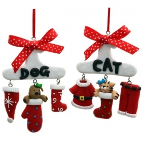 Christmas decoration for christmas Tree - EMBROIDERY - Home Dog and Cat