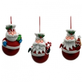 Christmas decoration for christmas Tree - EMBROIDERY - Santa Claus on the ball