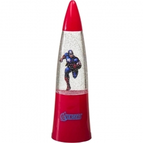 MINI LAMP LEd LIGHT with GLITTER and Changes colors MARVEL CAPTAIN AMERICA