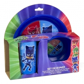 SET-JELLY - Flat Bowl Glass PJ MASKS - SUPER PAJAMAS