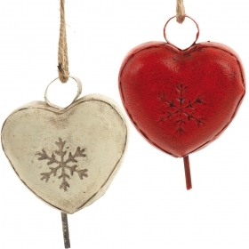 Decoration for CHRISTMAS Tree - METAL - cow BELL HEART