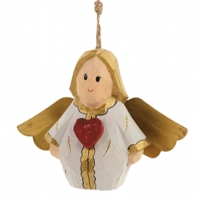 Decoration for CHRISTMAS Tree - WOOD - ANGEL with HEART
