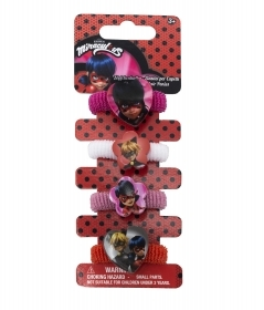 HAIR FERMATRECCINE ELASTIC 4 pieces, MIRACULOUS LADYBUG