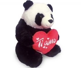 "PLUSH PANDA VALENTINE's day WITH HEARTS AND WRITTEN ""I LOVE YOU"" 50 cm"