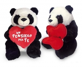 PLUSH PANDA VALENTINE's day WITH HEARTS bear GIFT - 30 cm
