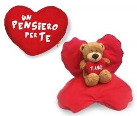 Fantastic HEART in Velvet teddy BEAR INSIDE - IDEA SAN VALENTIVO