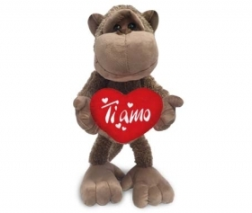 "PLUSH MONKEY - TANGO LOVE WITH the HEART AND WRITTEN ""I LOVE YOU"" 50 cm"