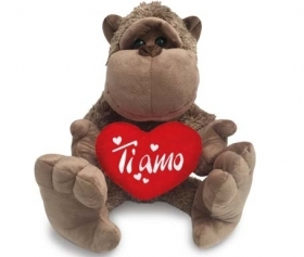 "PLUSH MONKEY - TANGO LOVE WITH the HEART AND WRITTEN ""I LOVE YOU"" 70 cm"