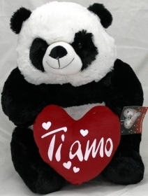 "PLUSH PANDA VALENTINE's day WITH HEARTS AND WRITTEN ""I LOVE YOU"" 20 cm"