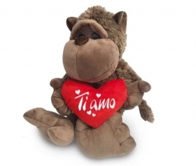 "PLUSH MONKEY - TANGO LOVE WITH the HEART AND WRITTEN ""I LOVE YOU"" 40 cm"
