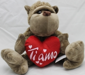 "PLUSH MONKEY - TANGO LOVE WITH the HEART AND WRITTEN ""I LOVE YOU"" 20 cm"