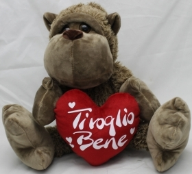 "PLUSH MONKEY - TANGO LOVE WITH the HEART AND WRITTEN ""I love YOU"" 30 cm"