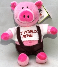 "PLUSH PIG VALENTINE's day, WITH the words ""I love YOU"" 18 cm"