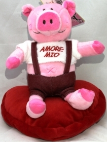 "PLUSH PIG ON a VALENTINE HEART WITH the words, ""MY LOVE"" 20 cm"