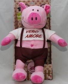 "PLUSH PIG VALENTINE's day, WITH the words ""TRUE LOVE"" 30 cm"