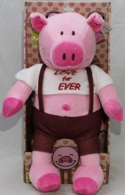 "PLUSH PIG VALENTINE's day, WITH the words ""LOVE FOR EVER"" 30 cm"