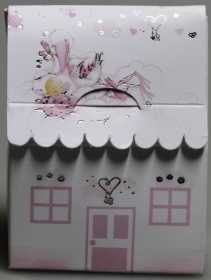 10 wedding FAVORS CASE door confetti STORK with PINK Confetti and slips of paper