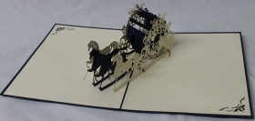 CARD GREETING - ORIGAMI - HORSE AND CARRIAGE