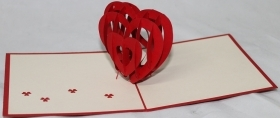 TICKET GREETING CARDS - ORIGAMI HEART - LOVE