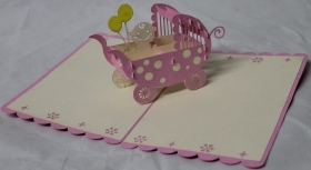 CARD GREETING - ORIGAMI - BIRTH-PINK
