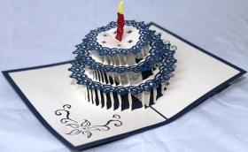 CARD GREETING - ORIGAMI - CAKE