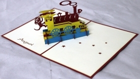 CARD GREETING - ORIGAMI - Train TRAIN