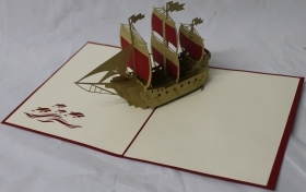 CARD GREETING - ORIGAMI - SHIP