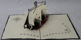 CARD GREETING - ORIGAMI - SHIP of the PIRATES