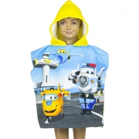PONCHO BATHROBE-TOWEL - SUPER WINGS to