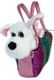 PLUSH Doggie BLANCO - 20 CM, a HANDBAG with Sequins and MAGICAL