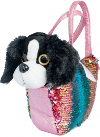 PLUSH Doggie BLACKY - 20 CM, a HANDBAG with Sequins and MAGICAL