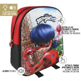 BACKPACK BACKPACK Kindergarten 3D - MIRACULOUS LADYBUG - Sound and light