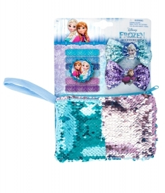 SET, HAIR accessories and HANDBAG With PAJETS DISNEY - FROZEN Elsa and Anna
