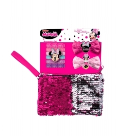 SET, HAIR accessories and HANDBAG With PAJETS DISNEY - MINNIE