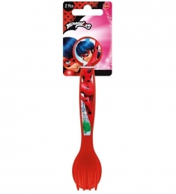 SET JELLY Plastic Cutlery - Spoon and Fork - MIRACULOUS LADYBUG