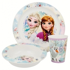 SET MEAL - Dishes and Glass DISNEY FROZEN ELSA and ANNA